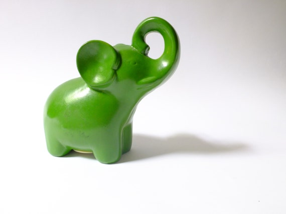 Vintage green ceramic elephant bank with lifted trunk piggy - Ceramic elephant piggy bank ...