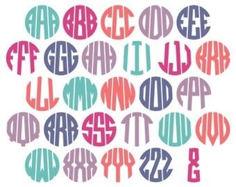 3 Letter Circle Monogram Alphabet (Ai, EPS, SVG, DXF, Studio) Personal Monogram Letters, Cut files for Silhouette Studio, Cutting Machines