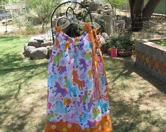 Girls Pillowcase Dress, Summer Dress,  Michael Miller Magic Unicorns Fabric