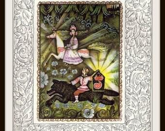 Russian Fairy Tale Print #3 (1980s): Fire-Bird Firebird Phoenix, Wolf Rider, White Horse Princess, Nursery Wall Art, Fantasy Picture, Soviet
