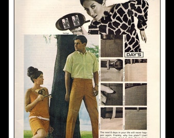 "Vintage Print Ad November 1967 : Dacron Dupoint Fashion Clothing Sexy Girl Wall Art Decor 8.5"" x 11"" Advertisement"