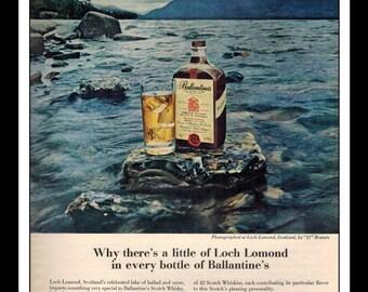 "Vintage Print Ad April 1962 : Ballantine's Blended Scotch Whiskey Loch Lomond Wall Art Decor 8.5"" x 11"" Advertisement"
