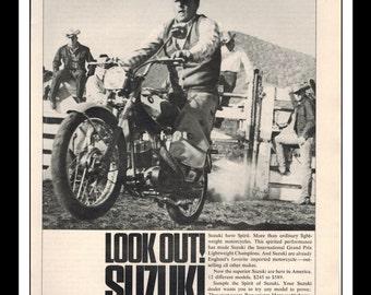 "Vintage Print Ad July 1964 : Suzuki ""Look Out! Suzuki Are Here"" Motorcycle Wall Art Decor 8.5"" x 11"" Print Advertisement"