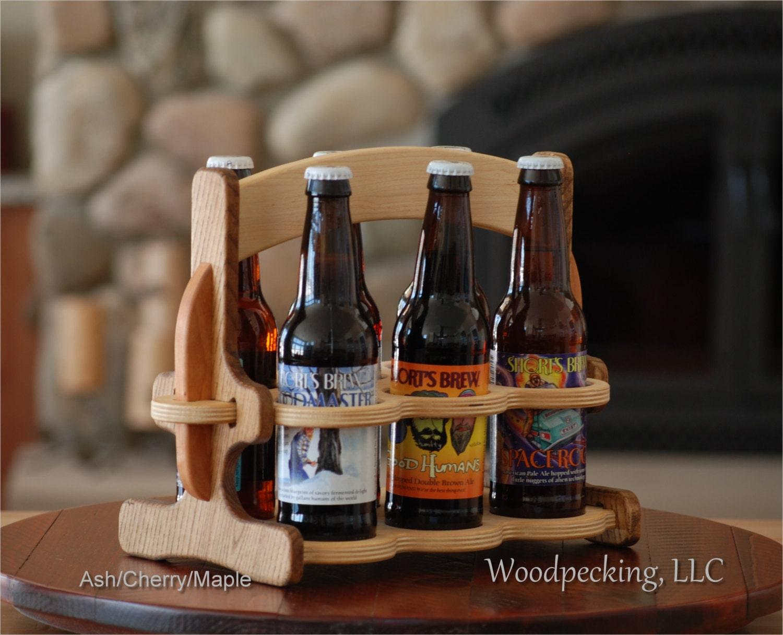 Beer Wood Caddy 6 Pack Bottle Holder Wooden Custom Carrier W