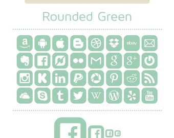 Green Social Media Icons - Set of 32 - 128 Icons in total