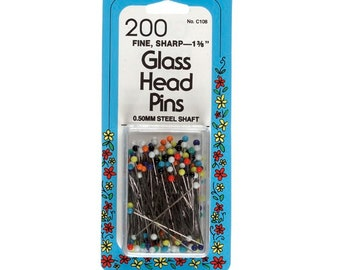 "200 Fine Glass Head Pins by Collins 1-3/8"" Item # W-108"