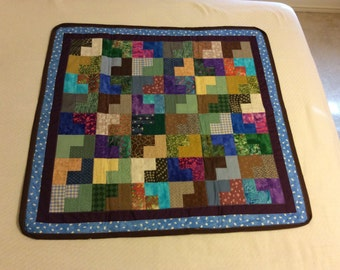 Baby quilt for boy. Ready to ship. Blues, purples and greens. Item #110.