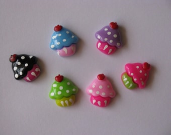 cupcake resins cabochons mixed colours party resins 6 per packet