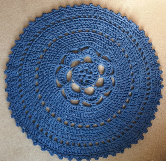 Crochet Around Rug Of T Shirt Yarn In The Color Denim Blue