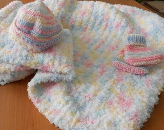 Crocheted Blue/Pink/Yellow/White Baby Blanket / Cap / Booties Set