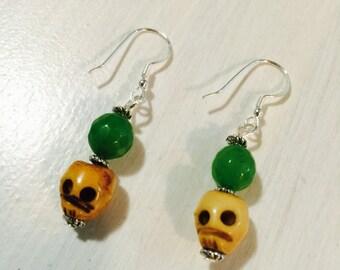 Peridot & Bone Earrings