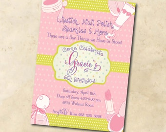 Glamour Birthday Party Invitation printable/Digital File/Salon Birthday Party, Girl Sleepover Invitation, make-up/Wording can be changed