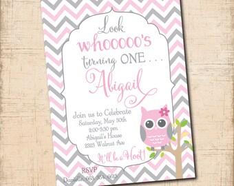 OWL Birthday Invitation girl printable/digital file, pink and gray, hoot, first birthday owl, girl owl invitation/wording can be hcanged