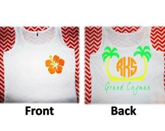 Beach Monogram - Vacation Memories - Neon - Adult Tank Top or T Shirt