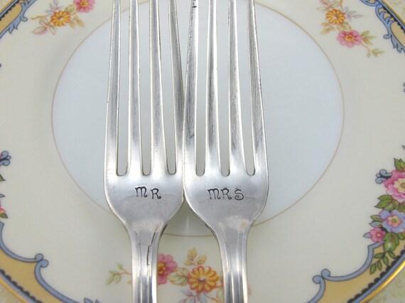 Art Deco Cake Forks : Wedding Cake Fork Set Mr and Mrs Art Deco Silver Wedding