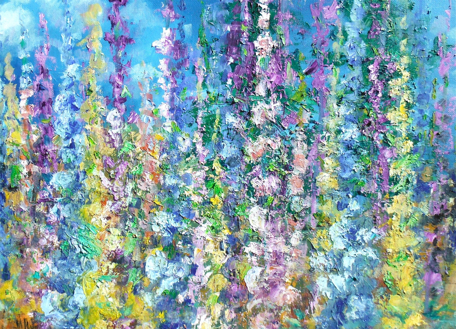 delphinium oil painting by maryweltyart on etsy