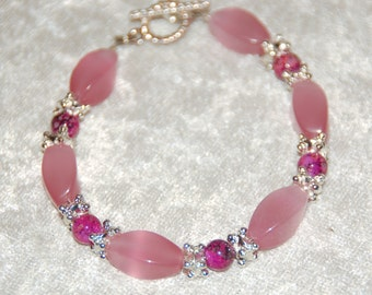 Shades of Pink Glass Bead Bracelet with Bright Silver Accents