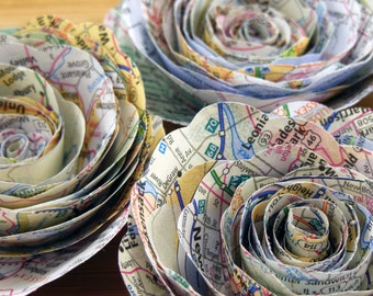 Map Paper Flowers, Set of 12, Travel Theme, Spiral Rose Decoration
