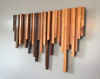 Wooden Wall Art - Cherry and Walnut Strips - Wall Decor - Wood Wall Hanging