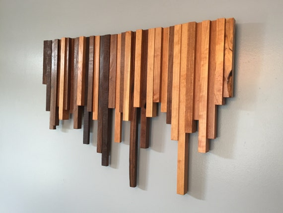 Wooden Wall Art Cherry And Walnut Strips Wall Decor Wood