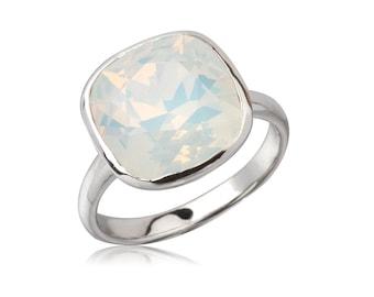 White Opal Cushion 12mm Ring