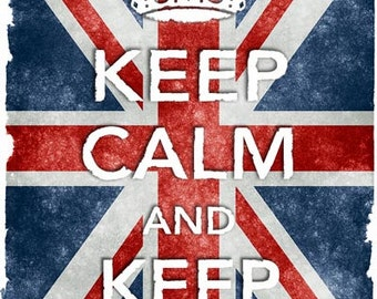 KC38 Vintage Style Union Jack Keep Calm And Keep Out Funny Poster Re-Print Wall Decor A2/A3/A4