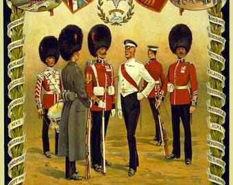 WA59 Vintage WWI British Coldstream Guards Recruitment World War 1 Poster Re-Print Wall Decor A1/A2/A3/A4