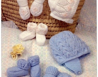 Vintage Knitting Patterns Baby Hats : Knit Baby Hats Vintage Knitting Pattern bonnet visor beanie