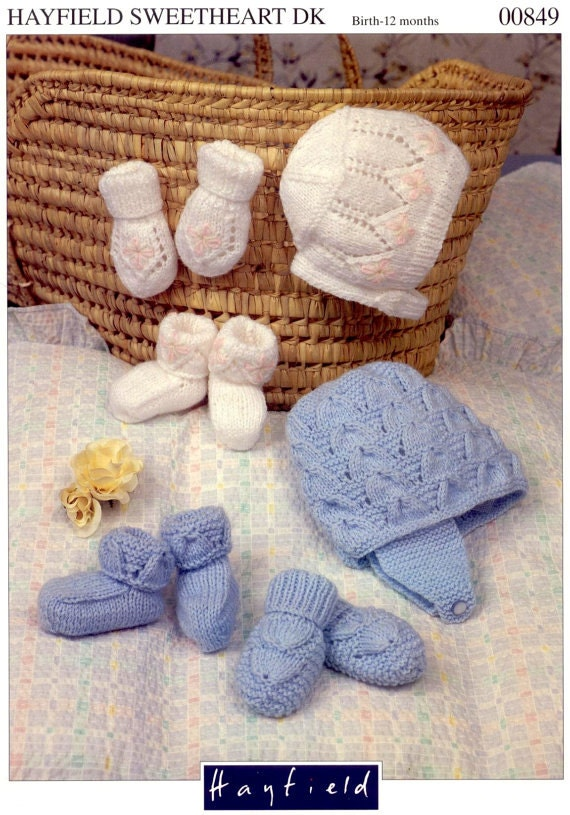 Knitting Pattern For Baby Hat And Mittens : Knit Hats Mittens and Booties Set Vintage Pattern baby