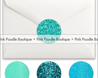 Glitter Sparkle ENVELOPE SEALS / STICKERS (8 pc, 16 pc, 24 pc) -- choose from Teal, Turquoise, Aqua, Robin's Egg Blue
