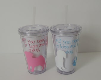 Personalized dog tumbler, dog tumbler, dog lover gift
