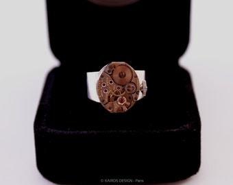 Chevalière mécanisme Suisse horloger montre mécanique de luxe vintage steampunk - Livrée dans coffret luxe de présentation