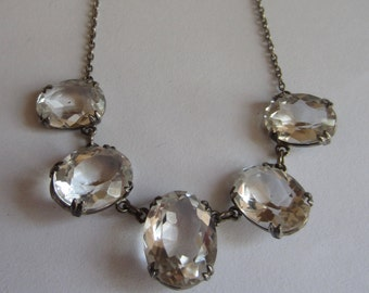 Edwardian silver rock crystal necklace