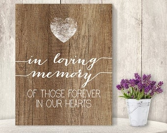 In Loving Memory Of Those Forever In Our Hearts // Wedding Memorial Sign DIY // Rustic Wood Sign, Calligraphy Printable ▷ Instant Download