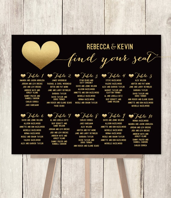 Seating Chart For Wedding: Elegant Wedding Seating Chart / Art Deco Poster / Gold And
