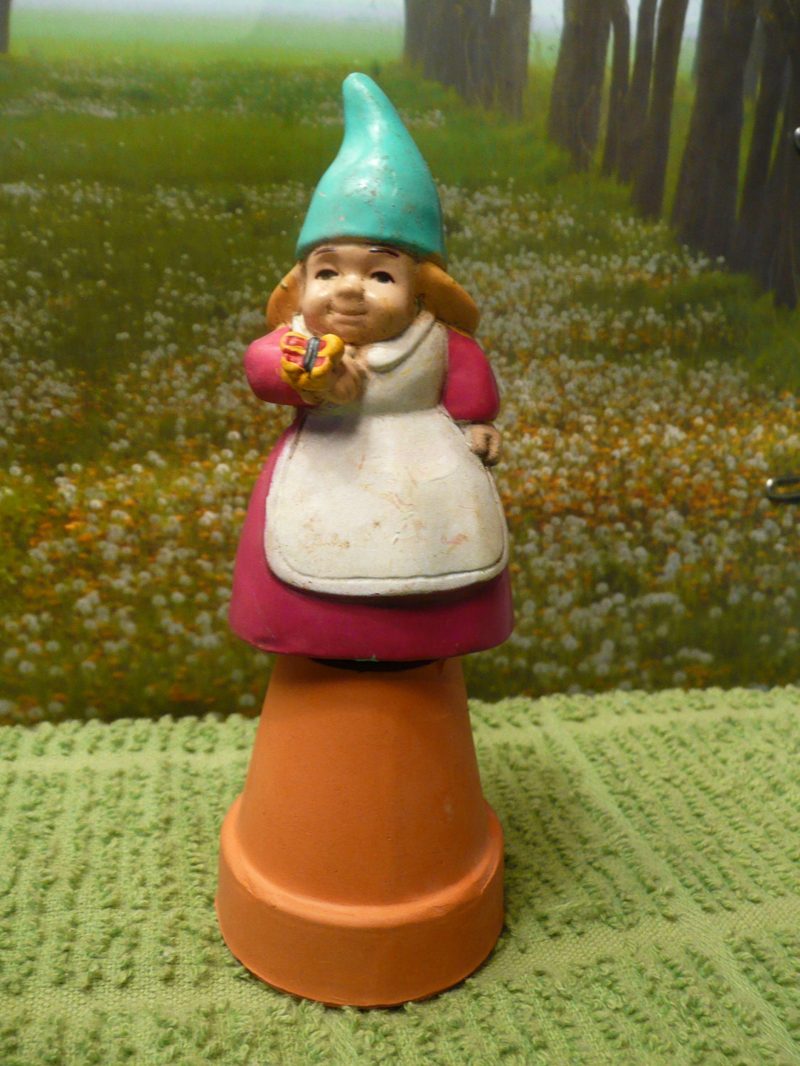 Miniature Red Female Girl Garden Gnome Stake Figurine With