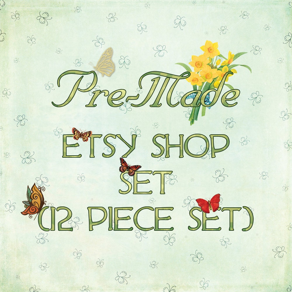 Butterfly Etsy Shop Kit 12 Piece Graphic Template Set Pre Made