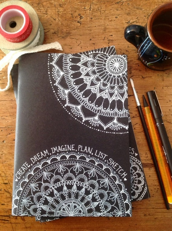 Items Similar To Hand Decorated Black Cover Sketchbook