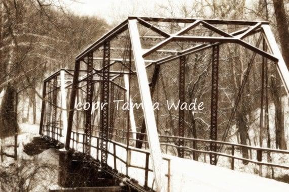 Metal Covered Bridges : Items similar to wooden bridge snow old metal