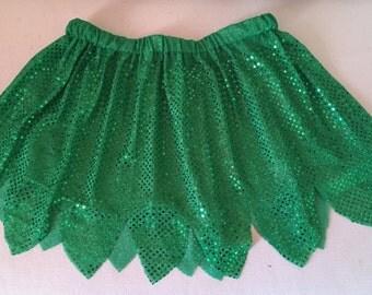 Fairy or Hawaiian Inspired Green Running/Skating/Athletic Skirt Costume
