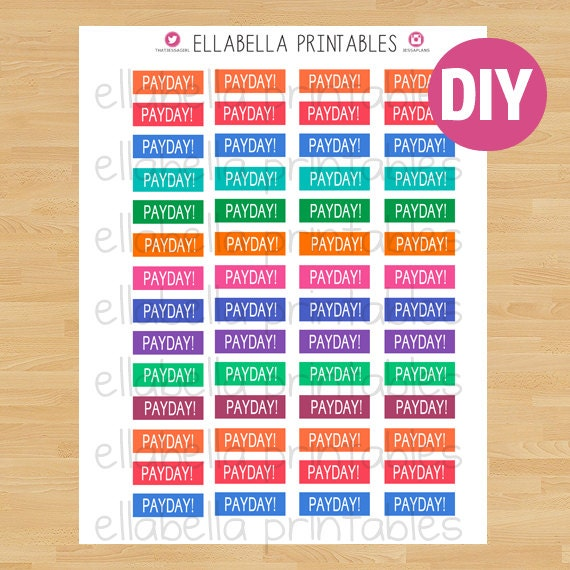 Payday printable printable planner by ellabellaprintables for Does staples print stickers