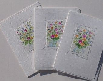 Handmade cards, original watercolor notecards with flowers, set of 3