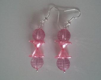 Pink Beaded Earrings   (#266)