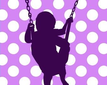 Baby Room Art Nursery Wall Art Children Artwork Kids Artwork Kids Art Print Baby Artwork Print 8x10 Swing Swings Purple Pink Blue Green
