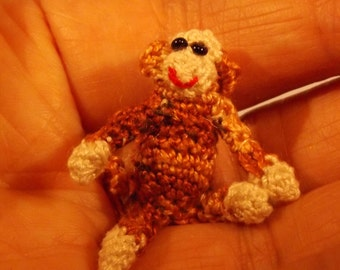 Crochet Sock Monkey - Sits at 1 Inch Mini Tiny Amigurumi Sock Monkey Miniature Stuffed Animals- Made to Order Tiny Micro Stitches