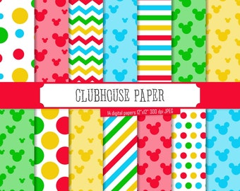 Buy 2 Get 1 Free! Clubhouse Inspired Digital Papers, Blue, Green, Red, Yellow chevron, polka dot, stripes, head, Mickey Mouse, tag, seamless