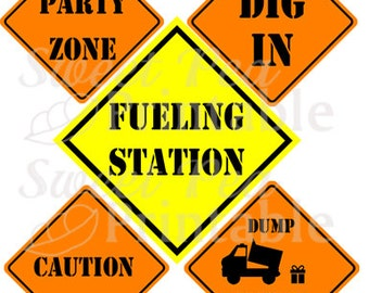 Construction Birthday Party Signs - Instant Download