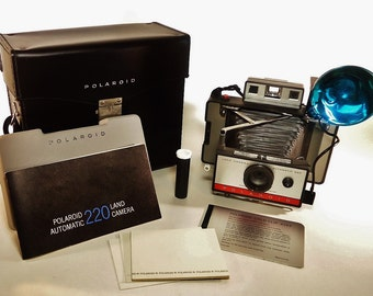 Vintage POLAROID Automatic 220 Land Camera with Accessories, Nice Condition!