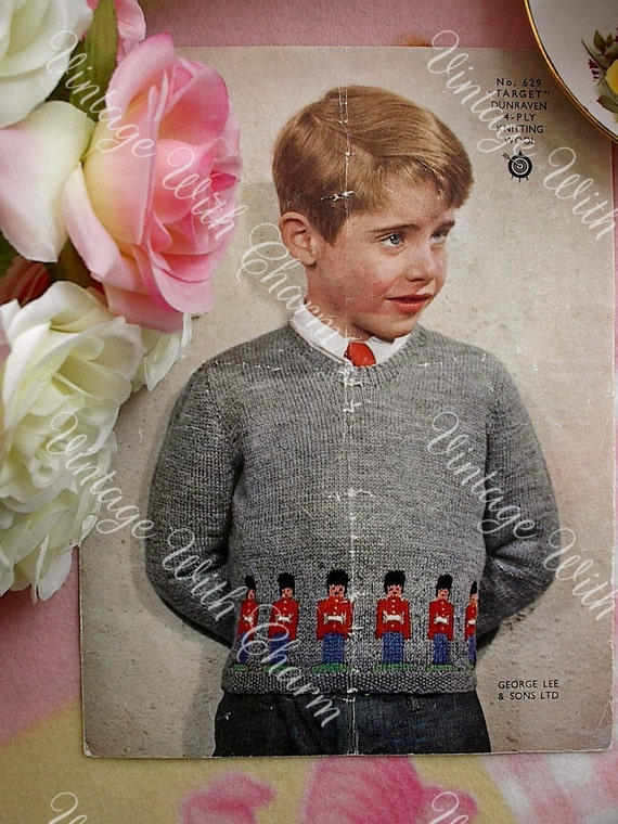 Knitting Pattern For 2 Year Old Jumper : Vintage Knitting Pattern Boys Jumper Tin Soldier