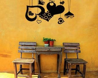 Wall Vinyl Sticker Decals Mural Room Design Heart I Love You Romantic bo451